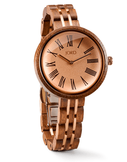 JORD watch CASSIA SERIES - WALNUT & VINTAGE ROSE - EWS Custom Gifts - Everything Wood Store