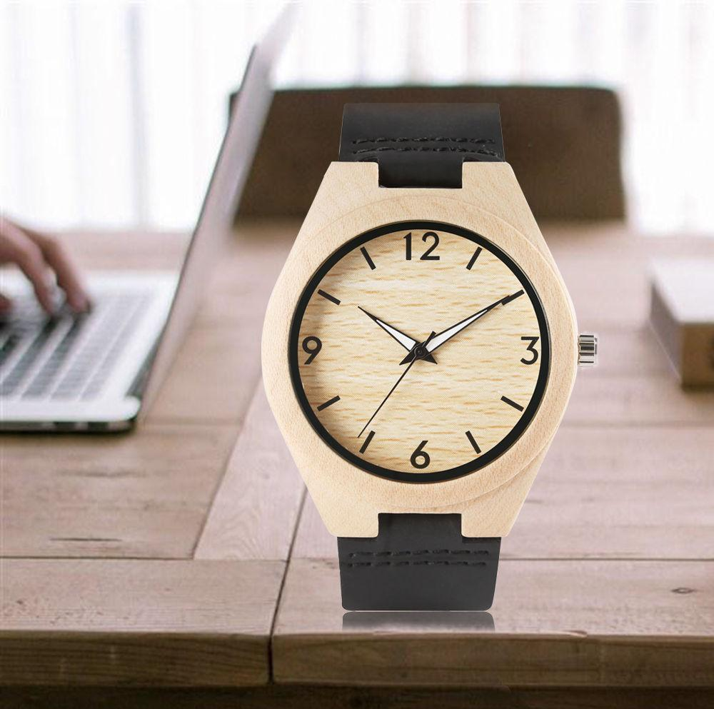Bamboo 44mm Wooden Watch Black Leather - Www.EverythingWood.Store