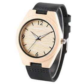 Bamboo 44mm Wooden Watch Black Leather