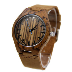 Zebra Wood 44mm Wooden Watch + Free Engraving-W-204-BL - Www.EverythingWood.Store