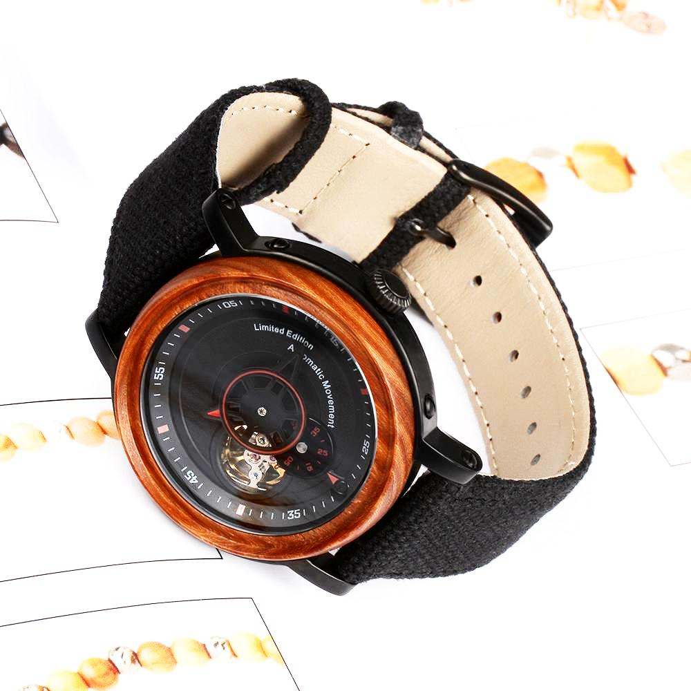 Wood Watches Automatic EWS Red Canvas Automatic wood watches are the best choice for engraved wooden watches for men. Also, it is the best gifts idea for Father's Day, Wedding, Birthday, Christmas and Anniversary.