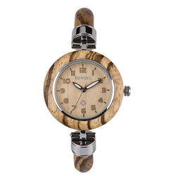 Women's wooden watches the Ews Diana. Bewell EWS Diana are natural wood watch is hand-crafted with 100% natural wood material without paint, it's light-weight and comfy to wear. It's retro distinctive cool vogue hand-crafted watch for women. All Diana series are unique wood anniversary gifts.