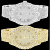 Mens Iced Out Gold Finish Solitaire Bezel Micro Pave Hiphop Watch