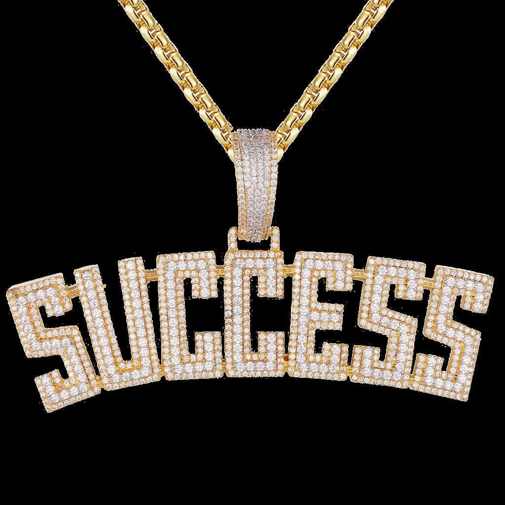 White/Gold Double Layer Success  Icy Hip Hop Pendant