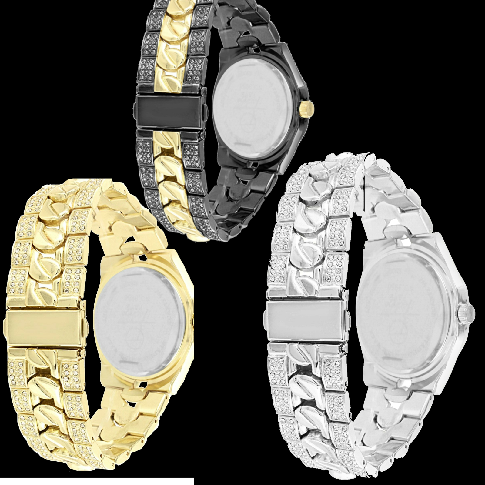 Blinged Out Men's 40mm Gold Watch with Iced Out Bezel Simulated Lab Diamonds