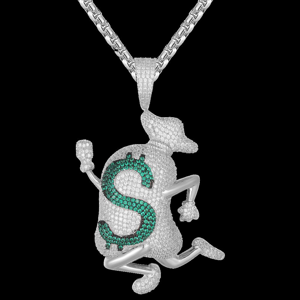 Bling Running Man Money Dollar Icy Bag Running Emoji