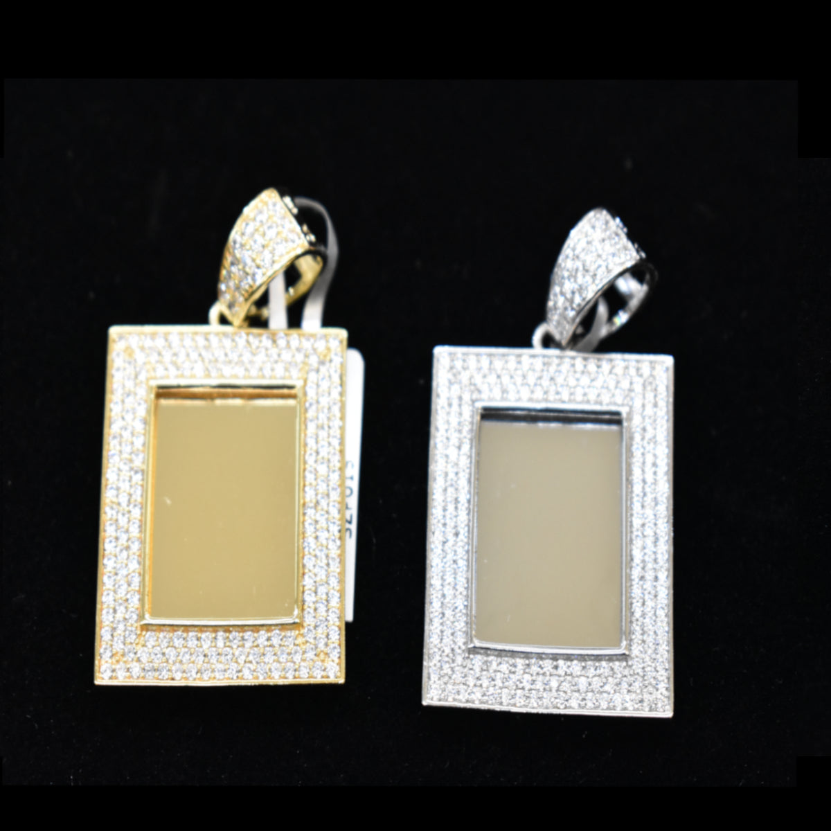 Iced Out Square Picture/Memory Pendant Free Chain 24""
