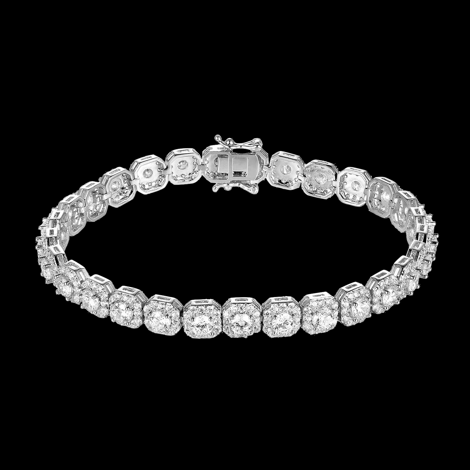 Double layered Square Tennis Style Bracelet Simulated Diamond 7mm Sterling Silver