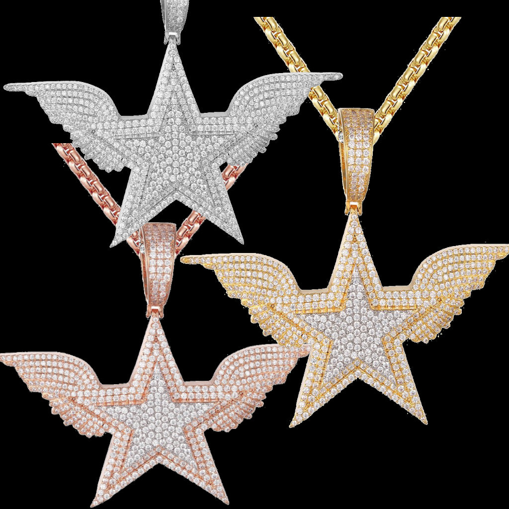 White/Gold Double Layer Star Flying Wings Icy Hip Hop Pendant