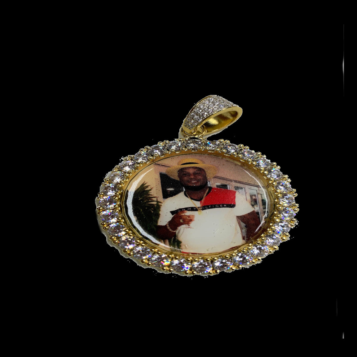 Iced Out Circle Picture/Memory Pendant Free Chain 24""
