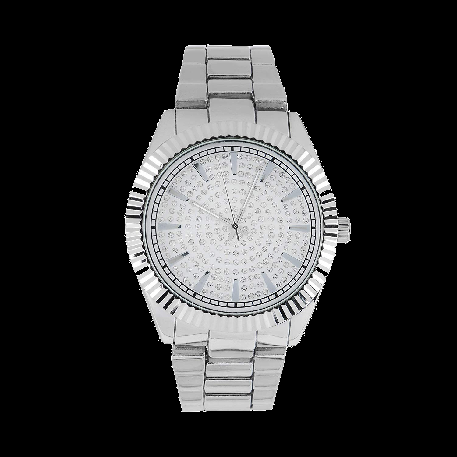 Mens Hip Hop Presidential  Blinged Out Dial Watch with Simulated Diamond