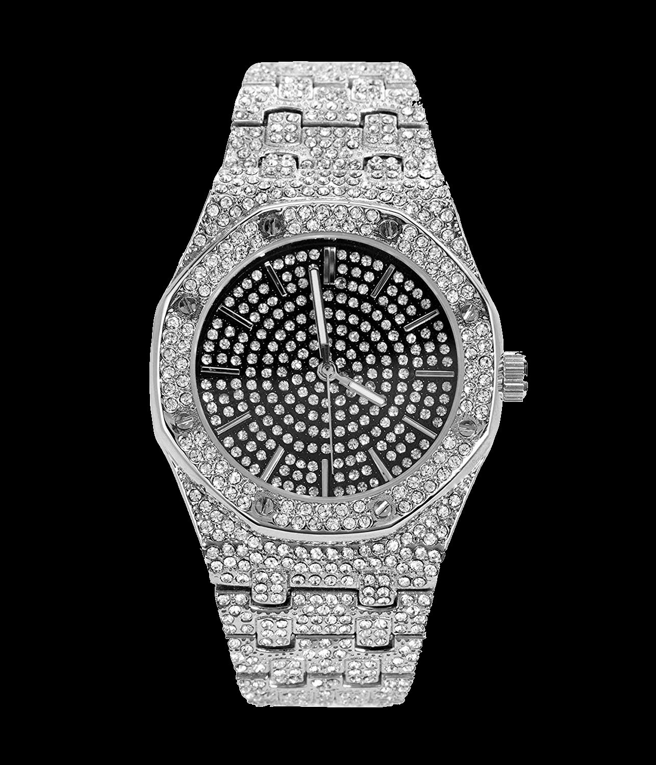 Mens Iced Out Silver Custom Rapper Presidential Watch Hiphop
