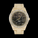 Gold Meteorite Dial Style Iced Out bezel Watch