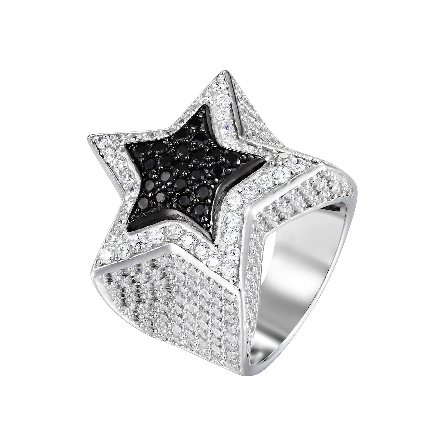 Custom 3D Star Ring Sterling Silver Black White