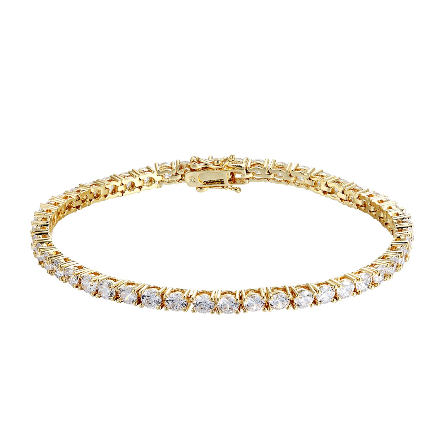 14k Yellow Gold Finish Tennis Bracelet Womens