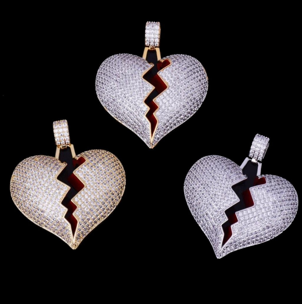 Iced Out Solid Red Broken Heart Necklace & Pendant With  Chain