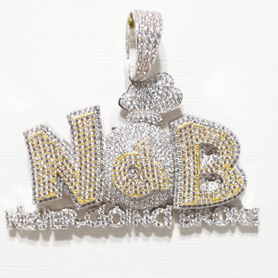 NEVER GOING BROKE NGB Money Bag Pendant custom jewelry iced out charm