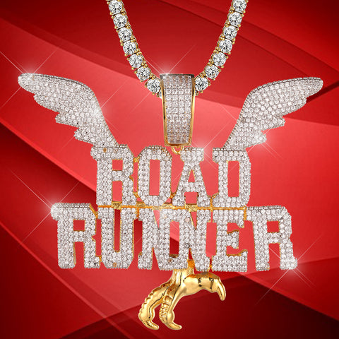 Road Runner pendant Icy Wings Hip Hop Designer Necklace icedoutcustoms