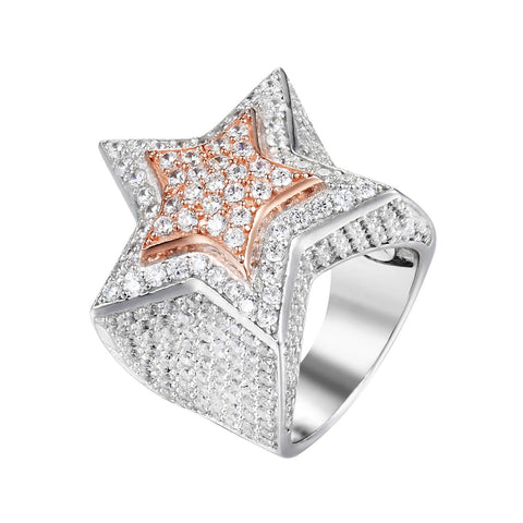 Star Ring Design Pendant Full Iced Out Sterling Silver 2 Tone Rose Silver Pinky