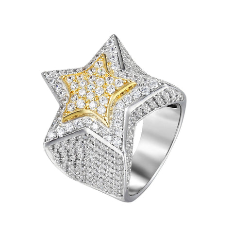 3D Custom Star Ring 925 Silver Simulated Diamond HipHop Bling Gold Silver 2 Tone