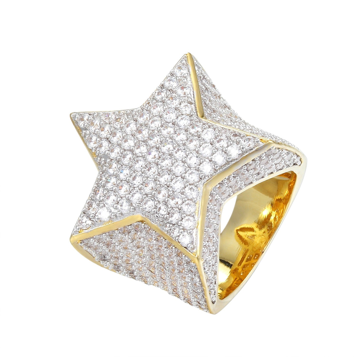 Star  Ring 14k Gold Finish Iced Out Simulated Diamond high quality brass with AAA czs