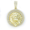 Stimulated Diamond Lion Head Gold Pendant