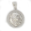 Simulated Diamond Silver Lion Head Bling Bling Pendant