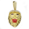 Lion Face Ruby Red Mouthed Lion Head Gold Pendant