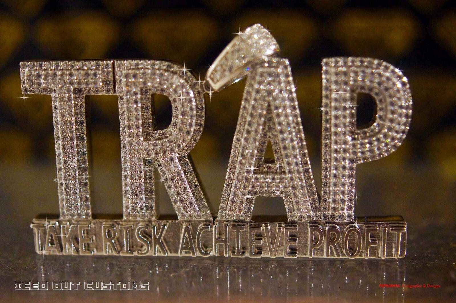 Custom Trap  Simulated Diamond Pendant With Chain