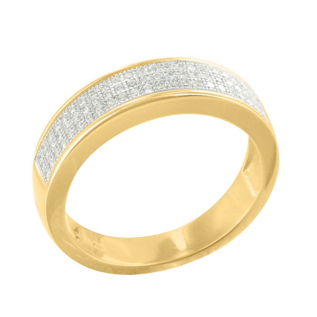 14k Gold Tone Wedding Ring Mens Engagement Band Cubic Zironia Sterling Silver 925