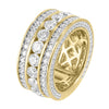 Men's 14k Gold Finish Solitaire lab Diamonds Sterling Silver Wedding Ring Band