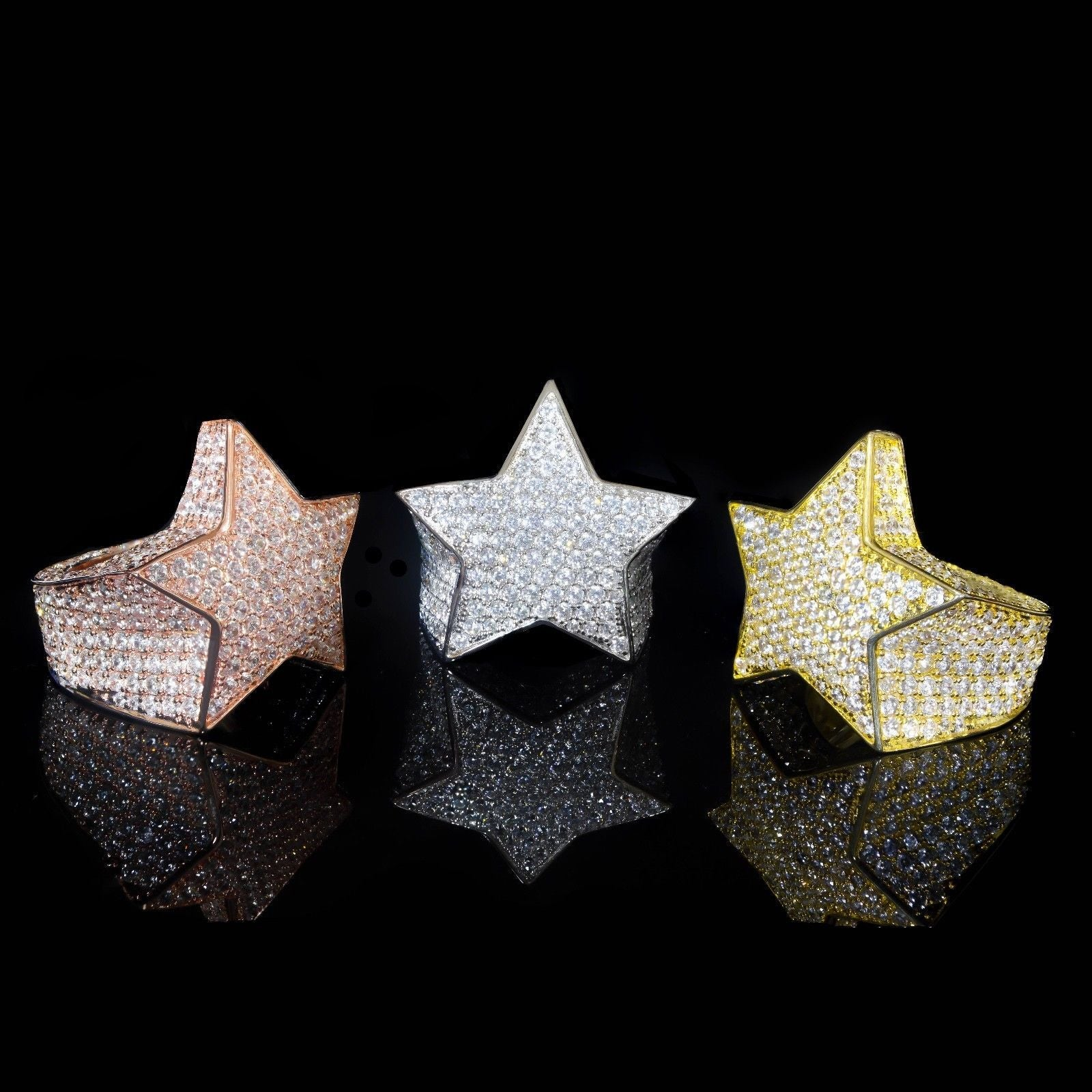 Custom Star Rings AAA Lab Made Diamonds