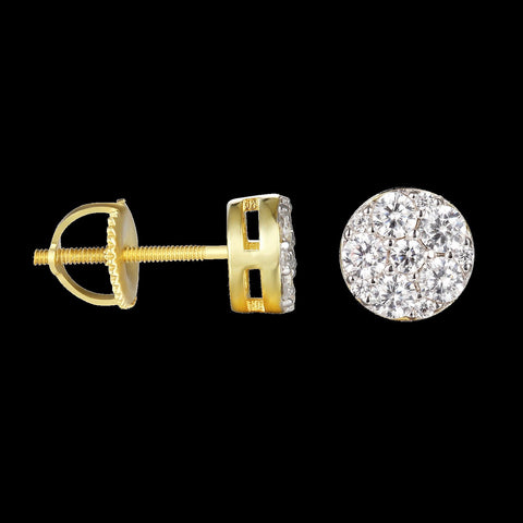 Round Cluster Lab Diamond Screw Back Earring