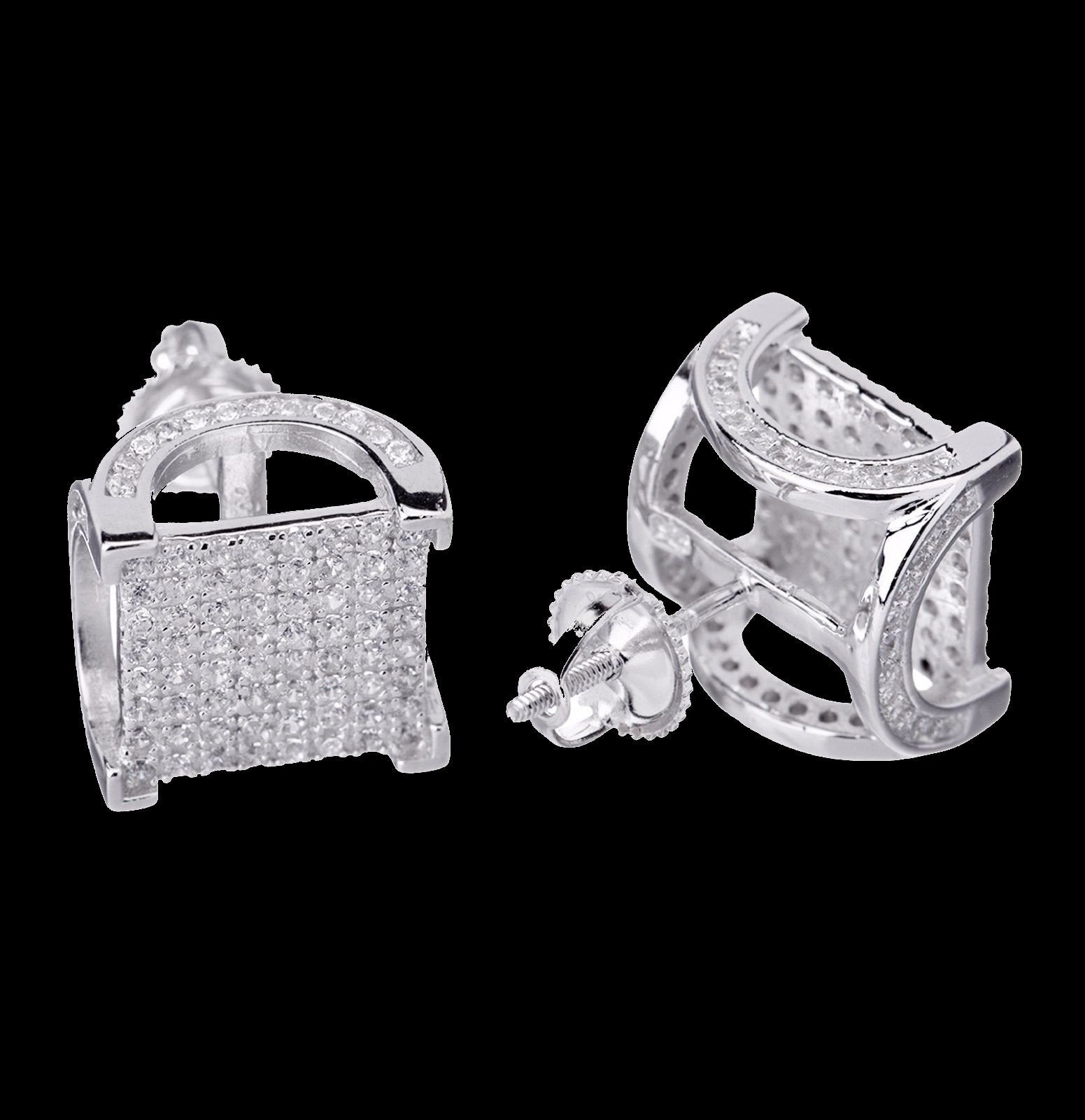 Men's Hip Hop 925 Silver 3D Square  Screw Back Earrings