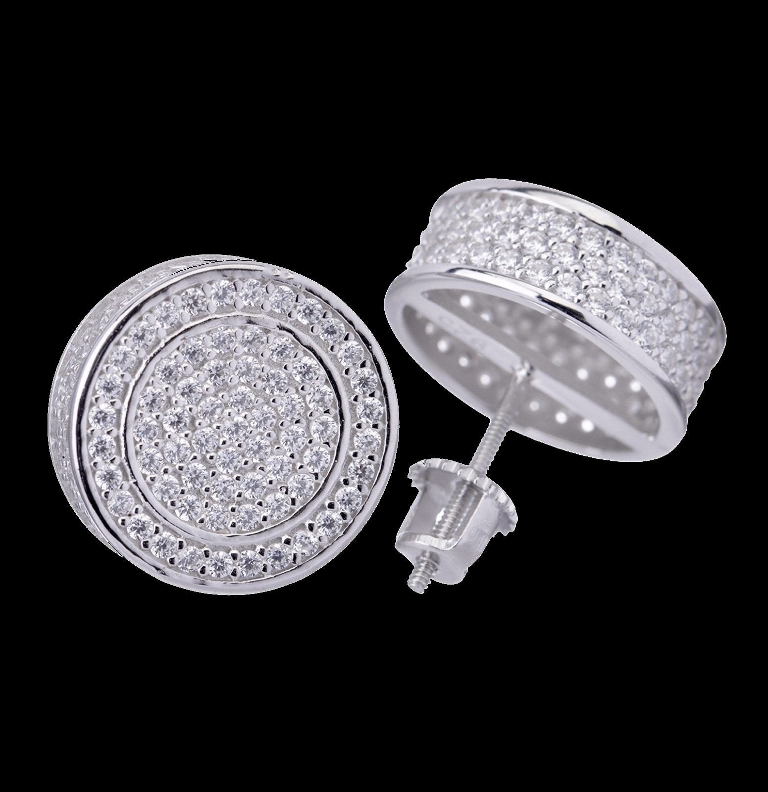 3D Round Circle Screw Back Stud Earrings