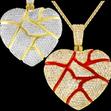Broken Heart / Love Veins Sterling Silver 3D IcedOut Pendant Gold Finish comes with Chain