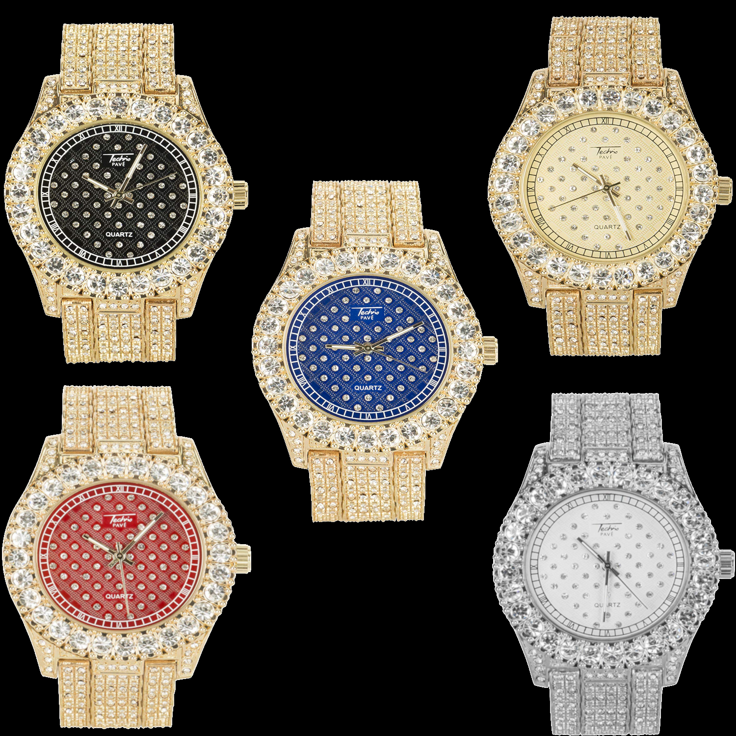 Mens Iced Out Solitaire Bezel Micro Pave Hiphop/Rapper Watch