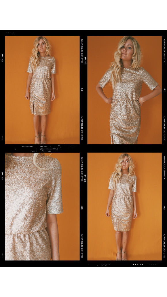 Bree Lena Sequin Gold Dress