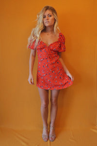 Red Floral Puff Sleeve Dress