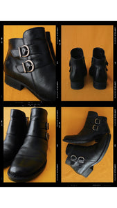 Born Black Buckle Booties Size 8.5