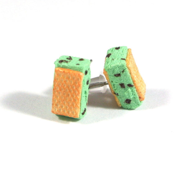 Mint Chocolate Waffle Ice Cream Sandwich Ear Studs - Gemnesis