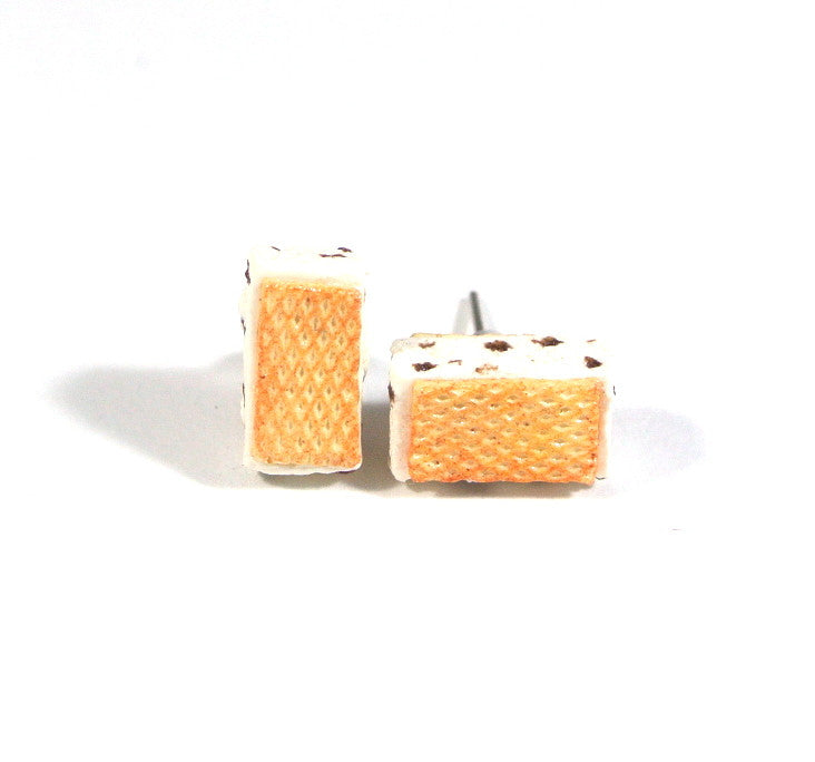Cookies and Cream Waffle Ice Cream Sandwich Ear Studs - Gemnesis