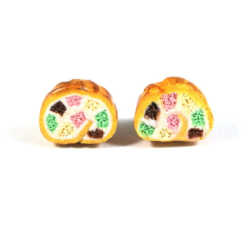 Checkered Swiss Roll Cake Ear Studs - Gemnesis
