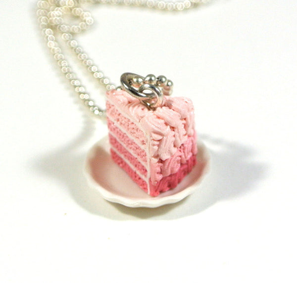 Pink Ombre Rosette Cake on a Plate Necklace