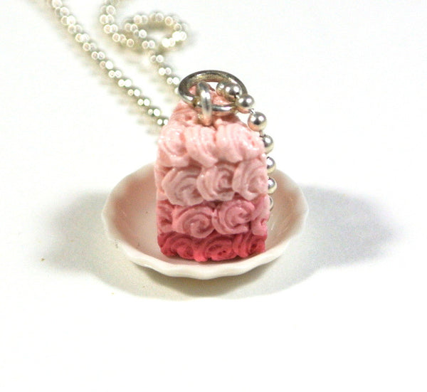 Pink Ombre Rosette Cake on a Plate Necklace - Gemnesis