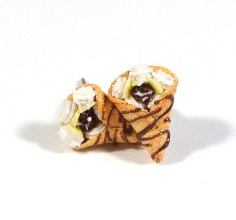 Chocolate Banana Crepe Ear Studs