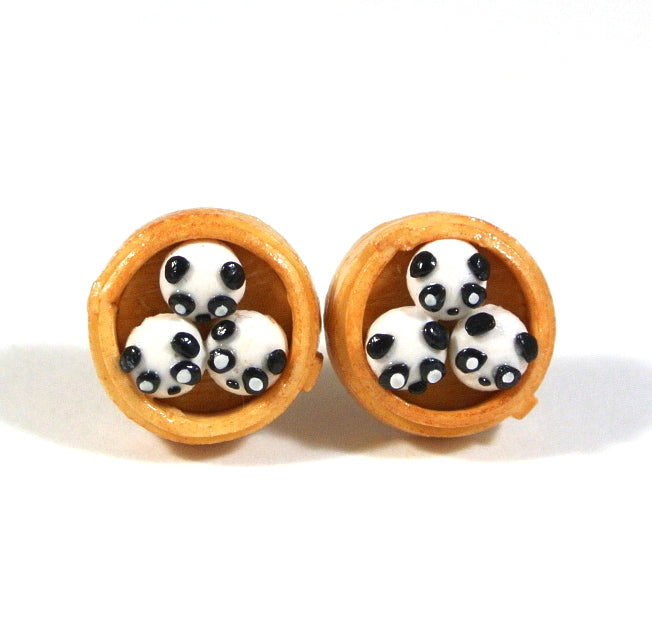 Panda Steam Bun Ear Studs