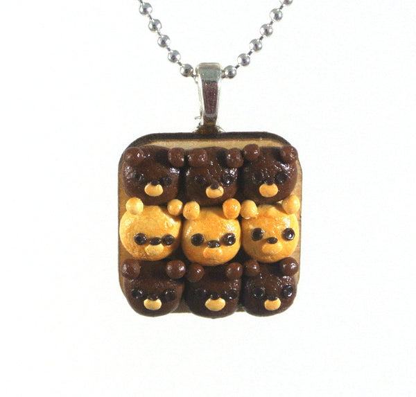 Teddy Bear Bread Bun Necklace