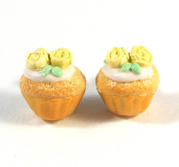 Yellow Rose Cupcake Ear Studs - Gemnesis