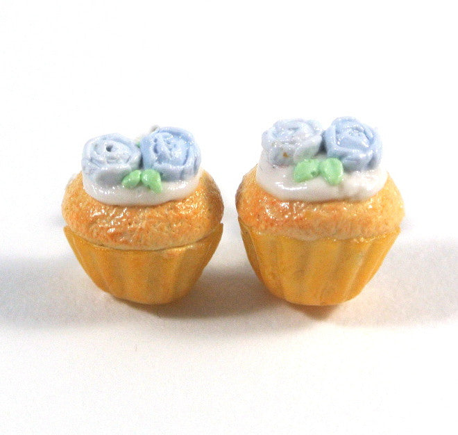Blue Rose Cupcake Ear Studs - Gemnesis